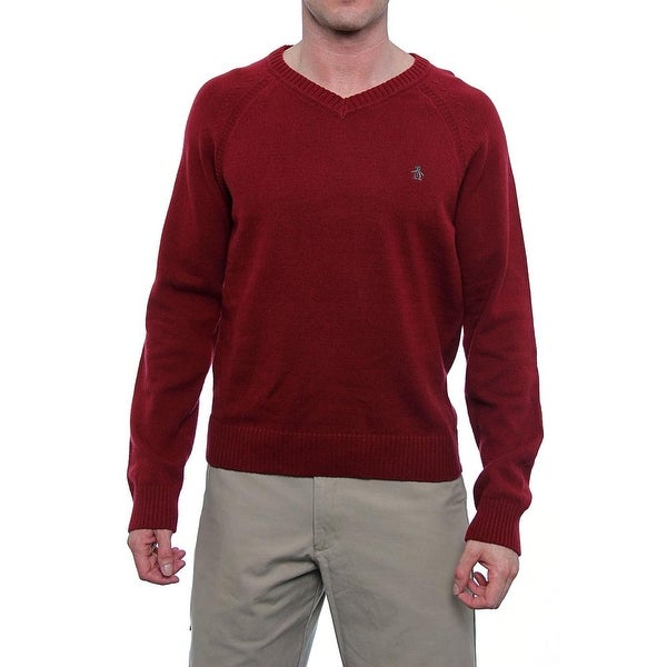 Original Penguin Long Sleeve V-Neck Sweater Men Regular Sweater Top