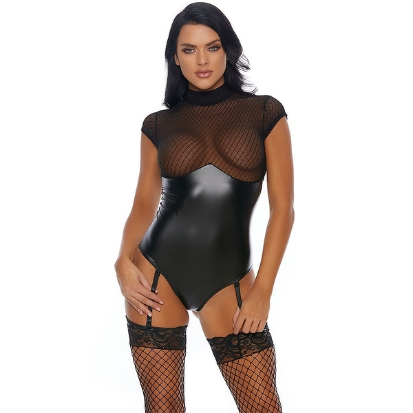 f3f71a60115 Shop Vixen Wet Look Teddy - Black - Free Shipping On Orders Over $45 -  Overstock - 27986597