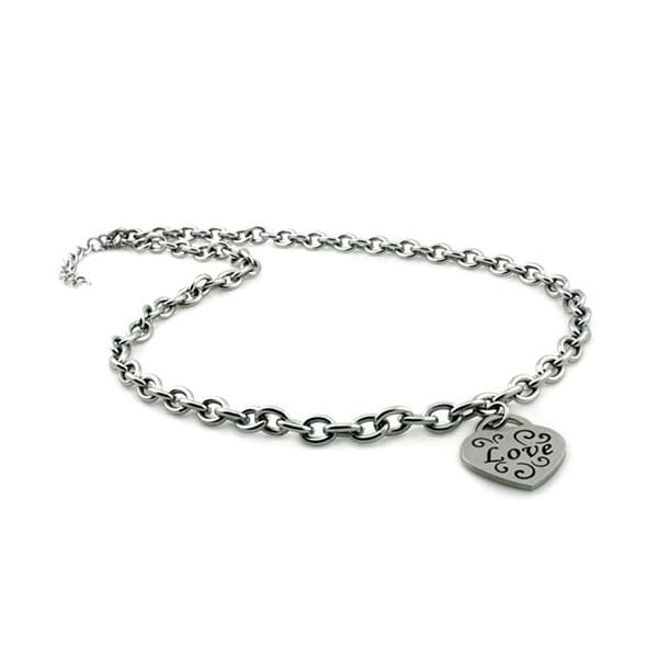 Stainless Steel Heart Love Charm Necklace - 18 inches