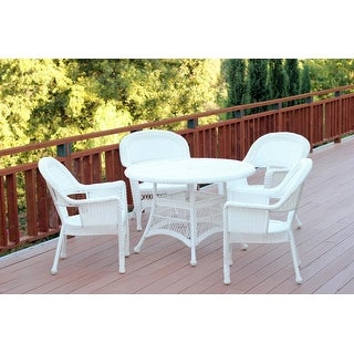 5-Piece White Resin Wicker Chairs and Table Outdoor Patio Dining Furniture Set