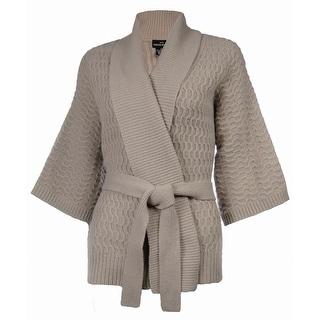 Sutton Studio Women's Kimono Wrap Wool Cardigan Plus - Taupe