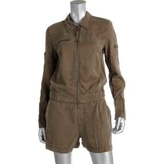 Pam & Gela Womens Front Zip Long Sleeves Romper - M