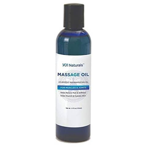 YO1 Naturals Massage Oil - Ayurvedic Mahanarayan Oil - Helps Relieve Pain & Stiffness on Muscles & Joints, 4 Fl Oz - Blue - 4 oz