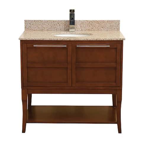"DecoLav 5233-36 Aura 37"" Freestanding Vanity Set with Birch Cabinet and Granite Top - Espresso"