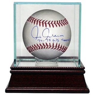 Chris Chambliss signed Official Rawlings Major League Baseball 77-78 WS Champs w/ Glass Case (Indians/Yankees/Braves)