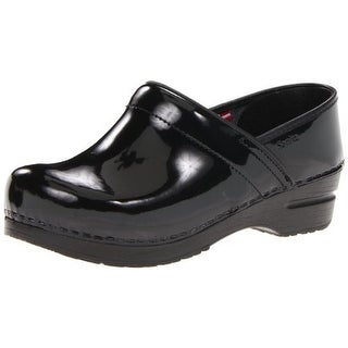 Sanita Womens Patent Round-Toe Clogs - 35