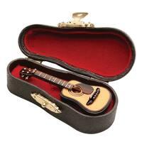 Women's Miniature Musical Instrument Lapel Pins - Velvet Lined Case - Classic Guitar