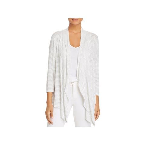 76d2edf61ae Cupio Womens Cardigan Sweater Striped Three-Quarter Sleeve