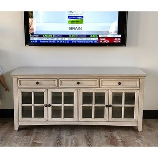 Ediline 70-inch 3-drawer Console Table TV Stand with Glass Door and Built-in Power Strip by iNSPIRE Q Classic