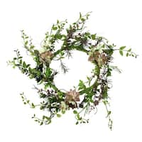 """24"""" Green and Burgundy Red Artificial Hen and Chick with Mixed Foliage Wreath - Unlit"""
