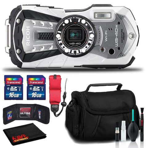 RICOH WG-40W Waterproof Digital Camera with Padded Case and Float