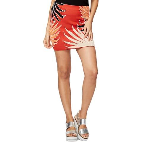 Rachel Rachel Roy Womens Mini Skirt Jacquard Palm