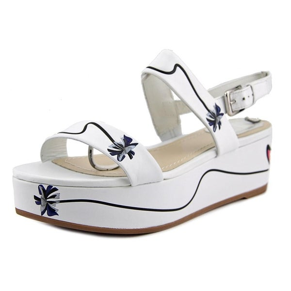 Dior Paradise Women Open Toe Leather White Wedge Sandal