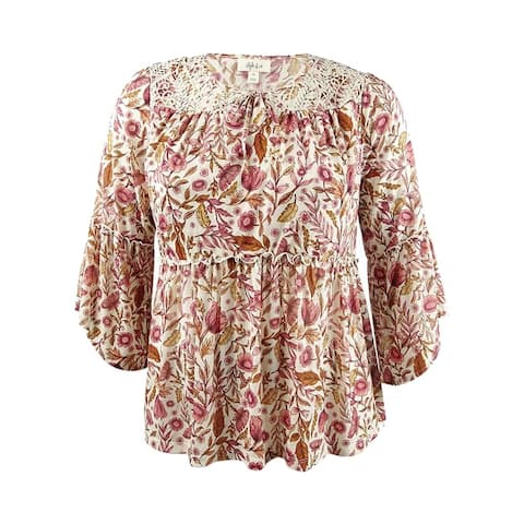 Style & Co. Women's Plus Size Printed Bell-Sleeve Peasant Top - Brulee Foliage