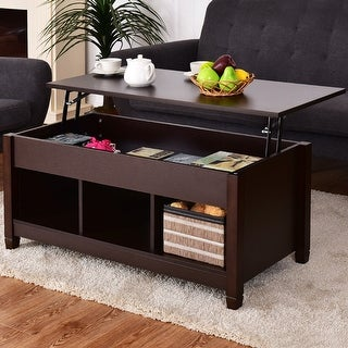 Costway Lift Top Coffee Table w/ Hidden Compartment and Storage Shelves Modern Furniture