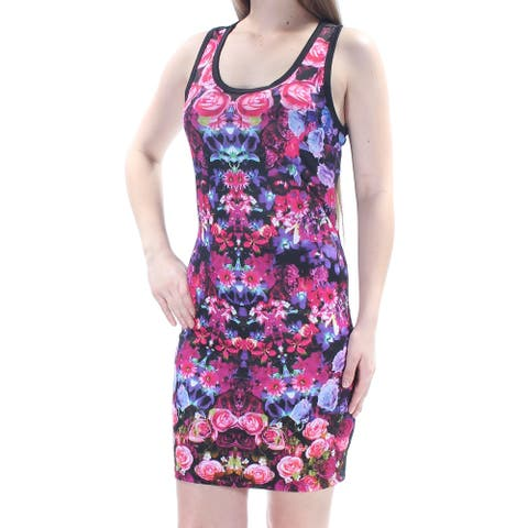 RAMPAGE Womens Black Cut Out Floral Sleeveless Scoop Neck Above The Knee Body Con Party Dress Juniors Size: M
