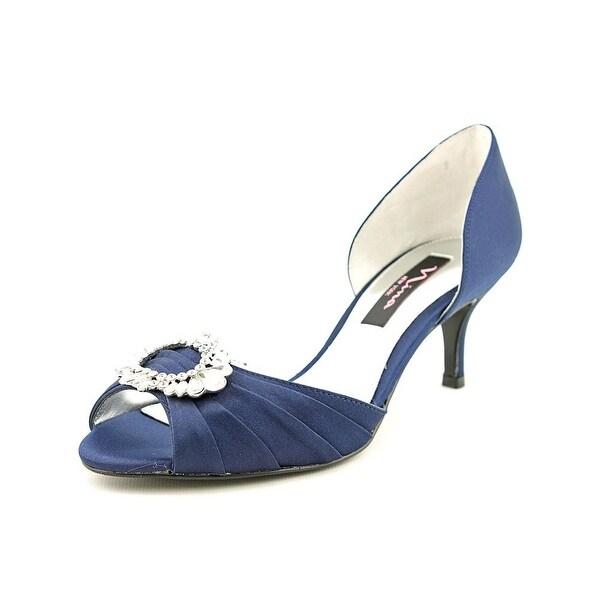 Nina Crystah Women W Open-Toe Canvas Blue Heels