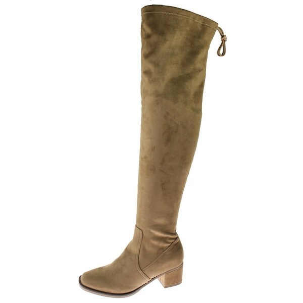 Steve Madden Womens Amelie Thigh-High Boots Faux Suede Covered Heel