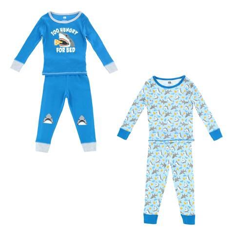 Only Boys Toddler Shark Print 4 Piece Pajama Set