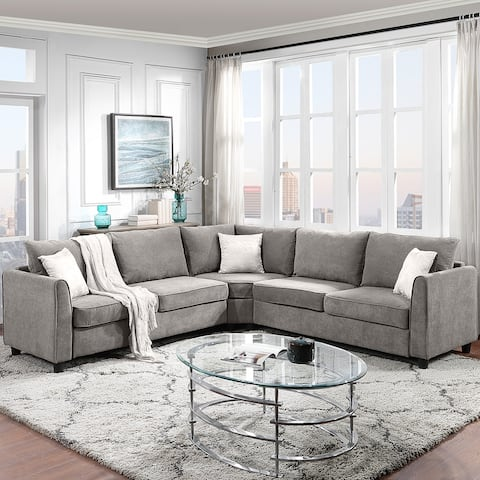 Big Sectional Sofa Couch L Shape Couch for Home Use Fabric Grey