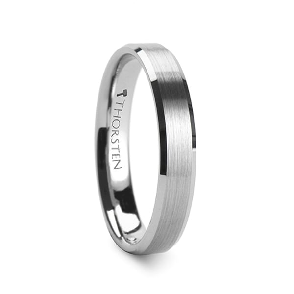 SHEFFIELD Flat Beveled Edges Tungsten Ring with Brushed Center - 4mm