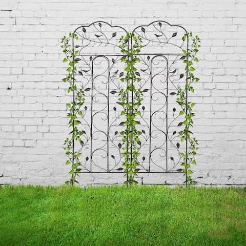 "2 Pack 59"" x 16"" Rustproof Iron Garden Trellis for Potted Plants"