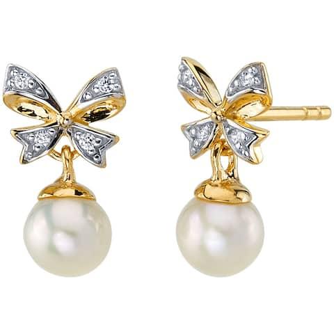 14K Yellow Gold Freshwater Pearl Bow Design Drop Earrings