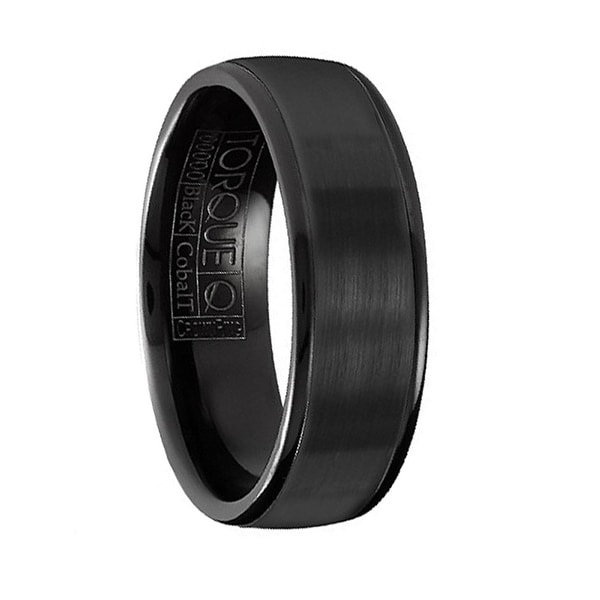 Brushed Finish Men's Torque Black Cobalt Wedding Band Round Polished Edges by Crown Ring - 7 mm
