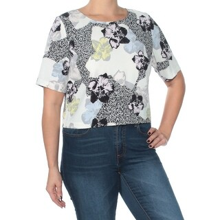 BAR III Womens Black Printed Short Sleeve Jewel Neck Top  Size: L