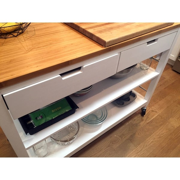 Shop Carson Carrington Skovby 48 Inch Kitchen Island With Drawers   White    Free Shipping Today   Overstock   18520038