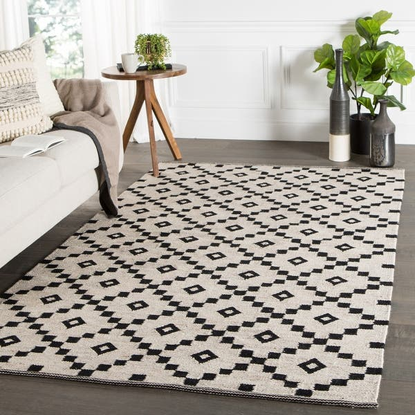 Shop Black Friday Deals On Folke Handmade Geometric Black White Area Rug On Sale Overstock 8577207