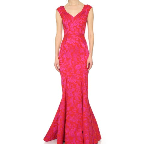 Zac Posen Pink Red Women Size 2 Gown Floral Mermaid Jacquard Dress