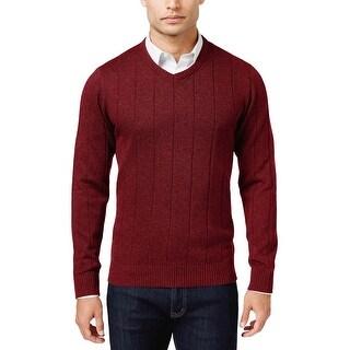 John Ashford Ribbed Cotton V-Neck Sweater Cherry Wine Burgundy Medium M