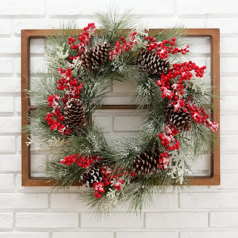 Glitzhome Wooden Window Frame with Wreath