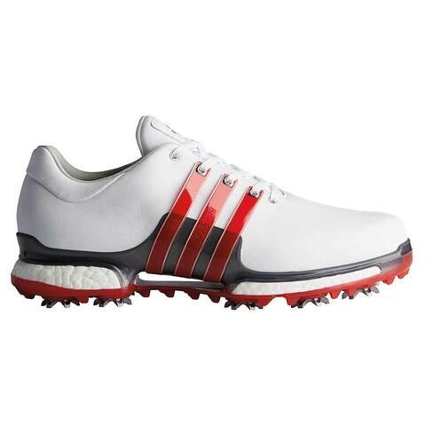 New Men's Adidas Tour 360 Boost 2.0 Golf Shoes Cloud White/Scarlet/Dark Silver Metallic F33625