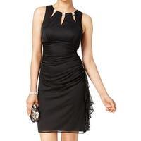 Betsy Adam NEW Black Womens Size 4 Ruched Embellished Sheath Dress