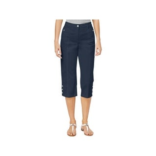 Karen Scott Womens Petites Capri Pants Twill Button Hem