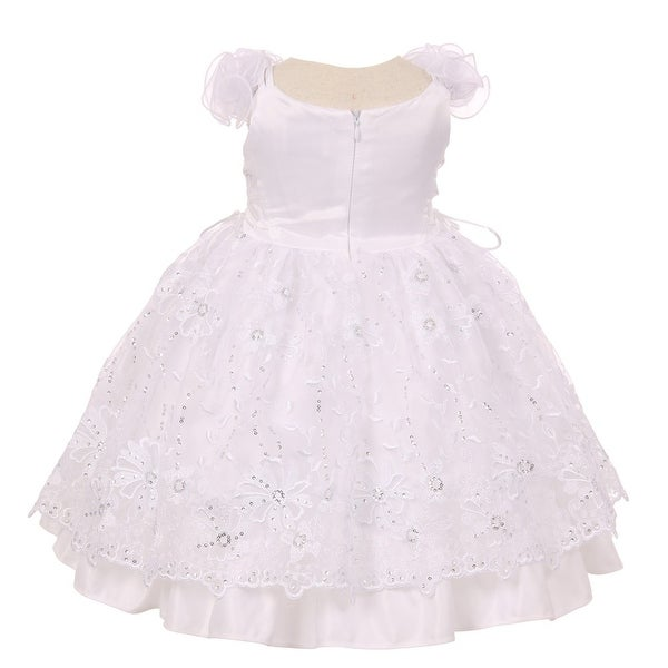 Little Girls White Flower Sequins Headband Bolero Baptism Christening Dress 2-4