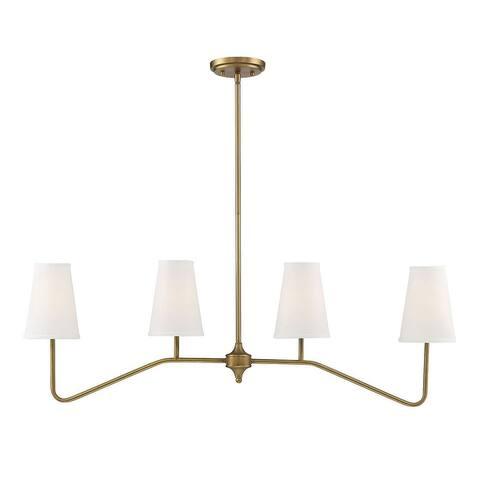 4 Light Natural Brass Linear Chandelier