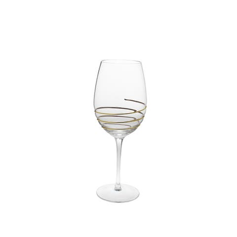 Set of 6 Water Glasses with Swirl Gold design