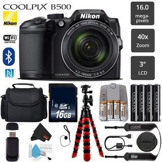 Nikon COOLPIX B500 Digital Camera (Black) 16MP 40x Optical Zoom with Built-in NFC, WiFi & Bluetooth - (Intl Model)