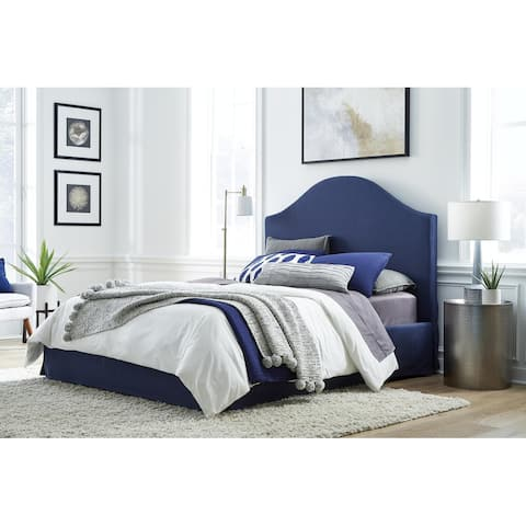 Sur Upholstered Skirted Storage Panel Bed in Navy
