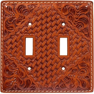 3D Western Switch Plate Tooled Basketweave Double Natural SP123