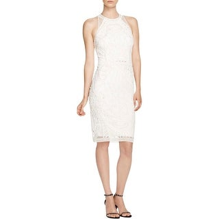 French Connection Womens Pearl Cage Cocktail Dress Beaded Halter