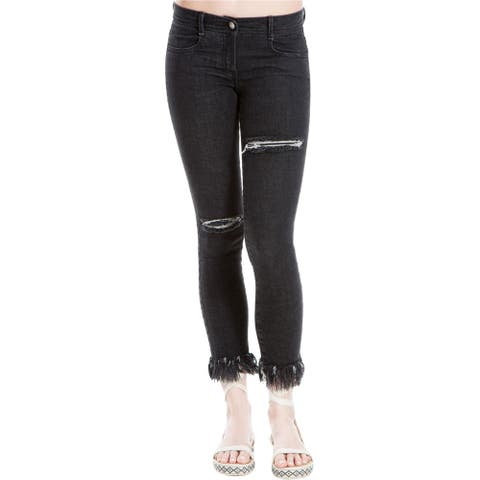 Max Studio London Womens Ripped Skinny Fit Jeans, Black, 26