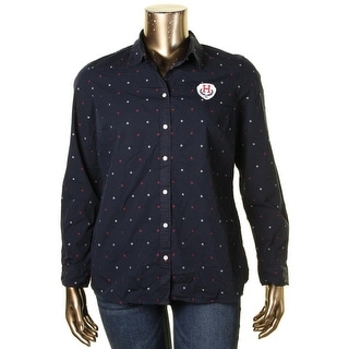 Tommy Hilfiger Womens Button-Down Top 100% Cotton Patterned - xL