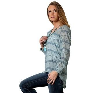 Cruel Girl Western Shirt Womens Long Sleeve Printed Blue CTW7072002