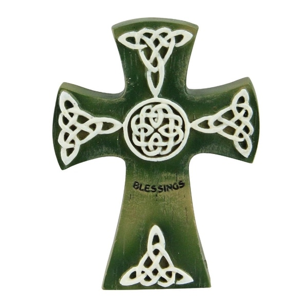 """4"""" Green and White Irish Cross with a Celtic Design and a """"Blessings"""" Inscription - N/A"""