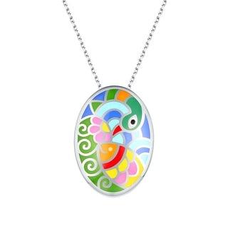 Vedantti Madhubani Art Peacock & Fish Multi Color Enamel Oval Necklace