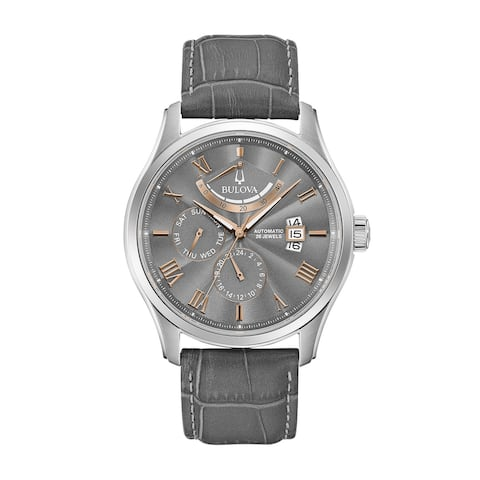 Bulova Men's 96C143 Two-Tone Multifuntion Grey Leather Strap Watch